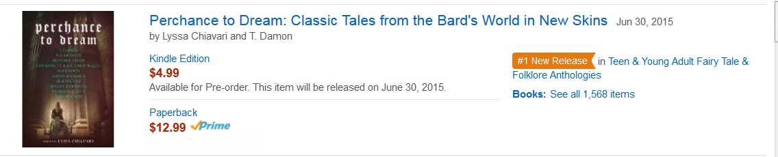 Amazon Rankings showing Perchance to Dream as #1 New Release